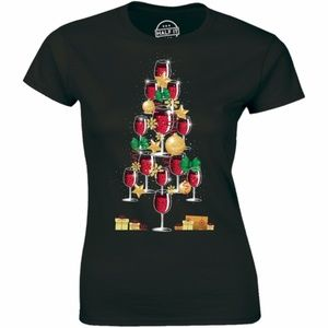 Christmas Tree Full Of Red Wine Glasses T-shirt